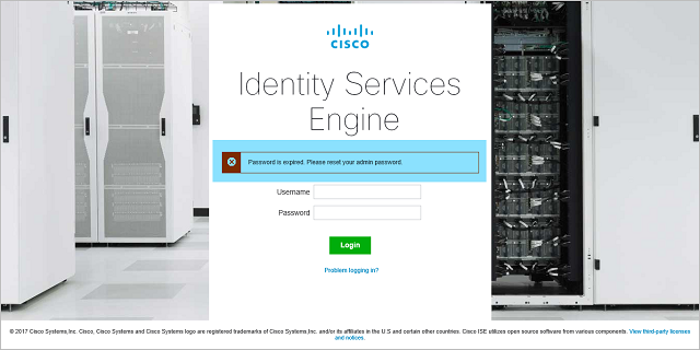 Cisco ISE Reset Admin Password