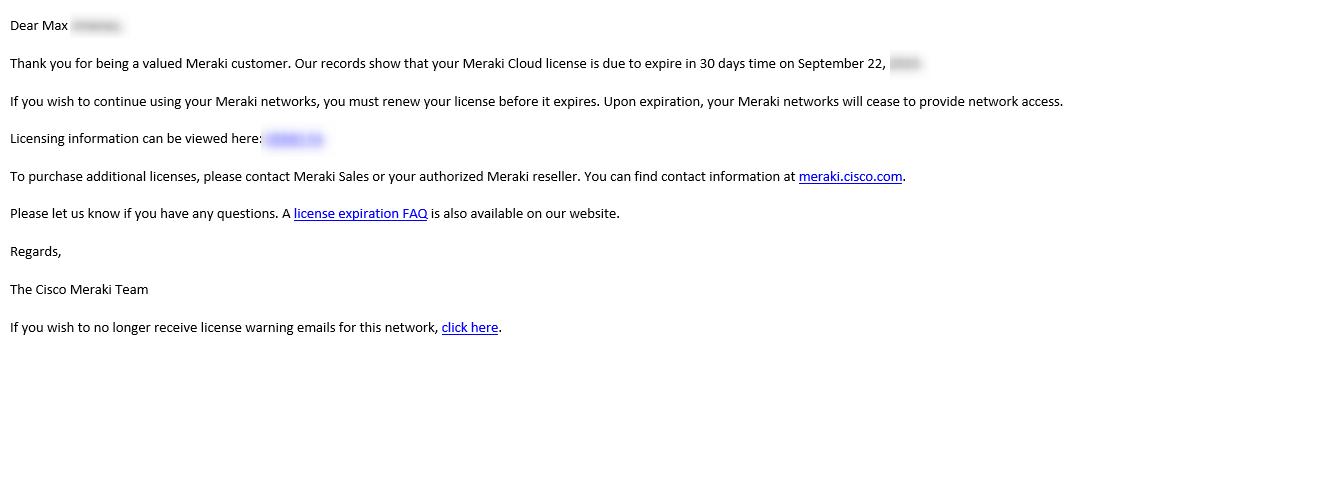 Cisco Meraki Español email