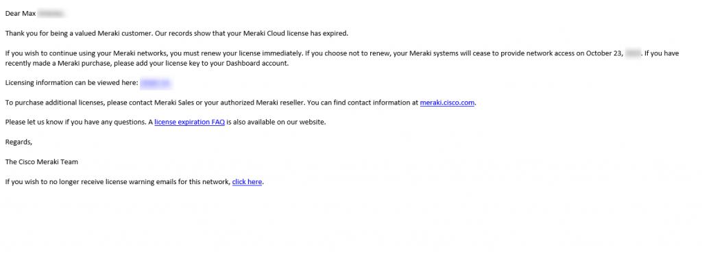 Cisco Meraki License